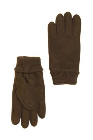 Marks & Spencer Mens Nubuck Leather Gloves - M - Chocolate, Chocolate