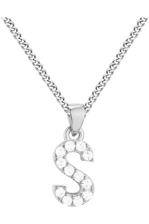 The Love Silver Collection Sterling Cubic Zirconia Initial Pendant