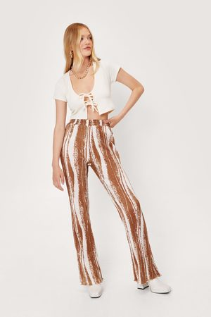 NASTY GAL Womens Abstract Wave Print High Waisted Flared trousers