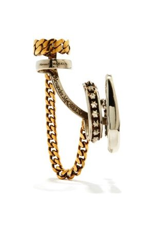 Alexander McQueen Studded Chain-drop Ear Cuff - Womens