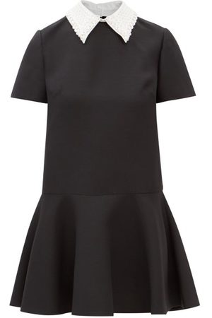 VALENTINO Embroidered Point-collar Wool-blend Crepe Dress - Womens