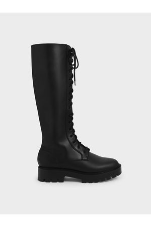 CHARLES & KEITH Women High Leg Boots - Lace-Up Knee-High Boots