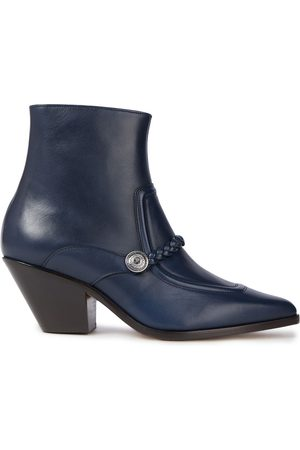 Sandro Woman Braid-trimmed Leather Ankle Boots Navy Size 35