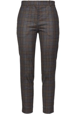 Sandro Women Trousers - Woman Checked Wool-blend Tapered Pants Taupe Size 34