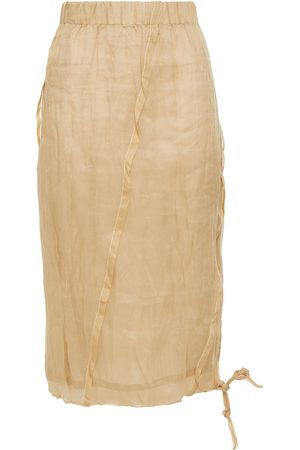 Acne Studios Women Midi Skirts - Woman Pleated Crinkled Cotton-gauze Midi Skirt Size 32