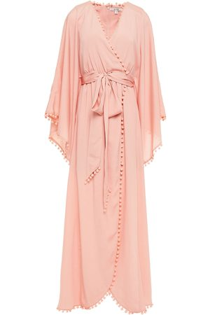 Badgley Mischka Women Evening Dresses - Woman Belted Pompom-trimmed Satin-crepe Gown Baby Size 10
