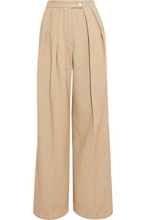 Acne Studios Women Wide Leg Trousers - Woman Wool-blend Drill Wide-leg Pants Camel Size 38