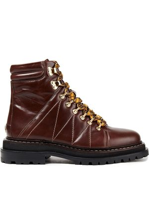 Sandro Women Heeled Boots - Woman Elton Quilted Leather Combat Boots Chocolate Size 36