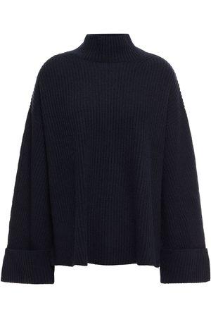 N.PEAL Women Turtlenecks - Woman Oversized Ribbed Cashmere Turtleneck Sweater Navy Size L