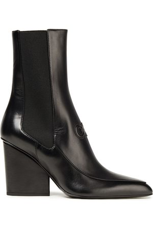 Salvatore Ferragamo Women Ankle Boots - Woman Embossed Leather Ankle Boots Size 10