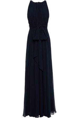 Badgley Mischka Woman Belted Gathered Georgette Gown Navy Size 10