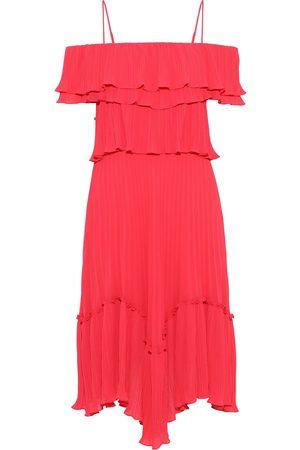 Halston Heritage Women Dresses - Woman Cold-shoulder Ruffled Plissé-chiffon Dress Size XL