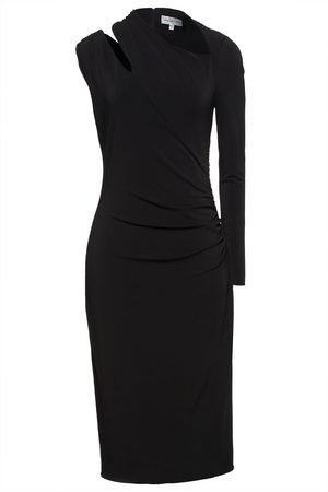 Halston Heritage Woman One-sleeve Cutout Ruched Stretch-crepe Dress Size 10