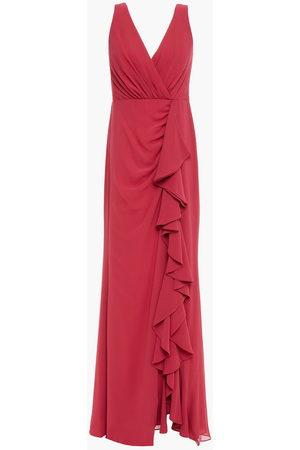 Badgley Mischka Women Evening Dresses - Woman Wrap-effect Ruffled Georgette Gown Crimson Size 10