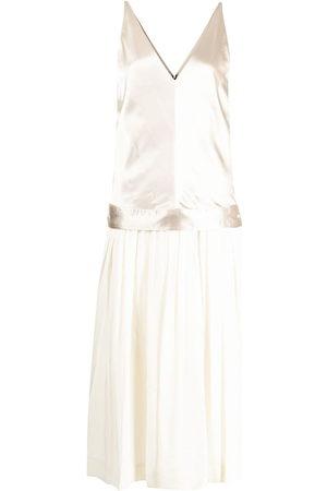 Commission Sleeveless pleated silk dress - Neutrals