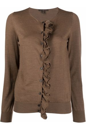 LOUIS VUITTON Pre-owned ruffled detailing round neck cardigan