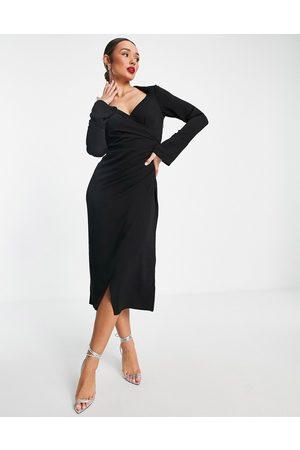 ASOS 70s drape front wrap midi dress in