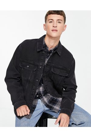 Topman Oversized fit denim jacket in washed