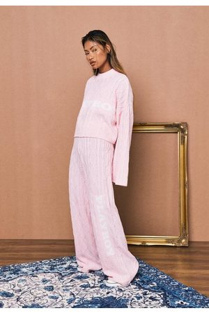 Missguided Playboy X Cable Knit Wide Leg Trousers