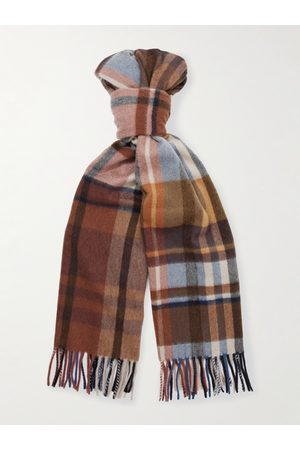Loro Piana Men Scarves - Fringed Checked Cashmere Scarf