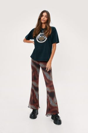 NASTY GAL Women Wide Leg Trousers - Womens Psychedelic Wave Print Mesh Flare trousers