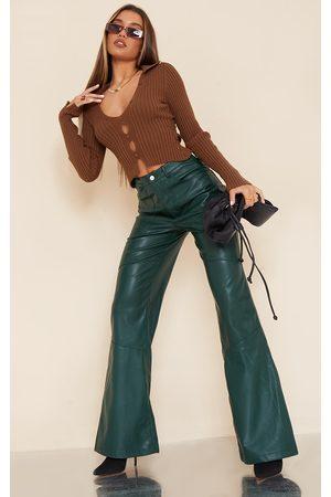 PRETTYLITTLETHING Women Wide Leg Trousers - Bottle Faux Leather Seam Extreme Wide Leg Trousers