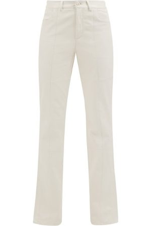 Wandler Women Leather Trousers - Aster Leather Flared-leg Trousers - Womens - Ivory