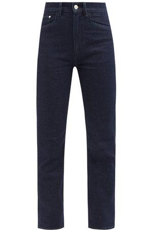 Wandler Carnation Cropped Slim-leg Jeans - Womens - Dark Denim