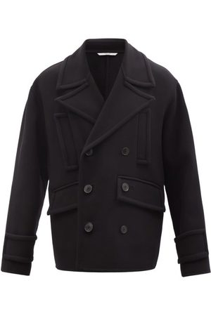 VALENTINO Men Summer Jackets - Double-breasted Wool-blend Pea Coat - Mens