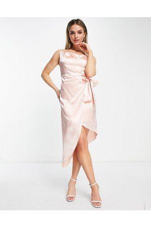 TFNC Satin wrap dress in