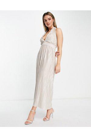 TFNC Pleated metallic midi dress in cream