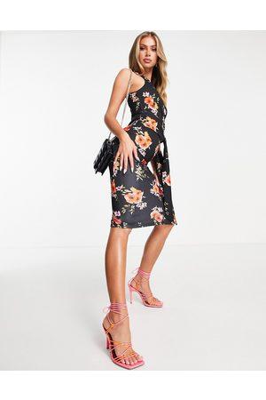 ASOS One shoulder side knot midi dress in black floral print-Multi