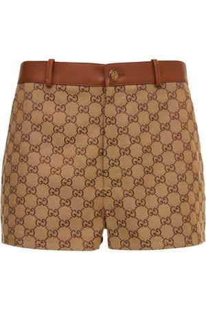 Gucci Logo Cotton Mini Shorts W/ Leather