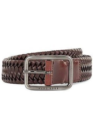HUGO BOSS Woven-leather belt with closed buckle
