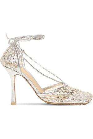 Bottega Veneta 90mm Stretch Metallic Mesh Sandals