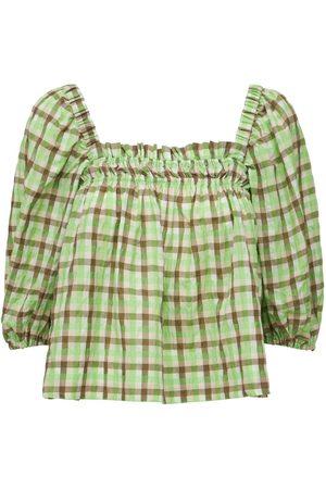 Ganni Seersucker Check Cotton Blend Top