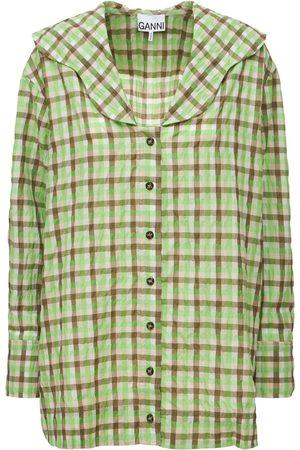 Ganni Women Shirts - Seersucker Check V-neck Shirt