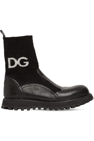 Dolce & Gabbana Dg Leather & Knit Boots