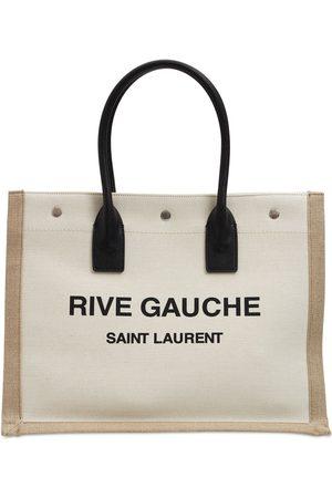 Saint Laurent Rive Gauche Linen Tote Bag