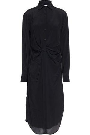 Halston Heritage Women Casual Dresses - Woman Maeve Twist-front Crepe De Chine Midi Shirt Dress Size 0