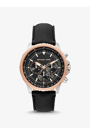 Michael Kors Men Watches - MK Oversized Cortlandt Leather and Two-Tone Watch