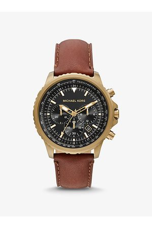 Michael Kors Men Watches - MK Oversized Cortlandt Leather and Antique Gold-Tone Watch - Luggage