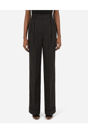 Dolce & Gabbana Women Trousers - Trousers and Shorts - Flared pinstripe woolen pants female 36