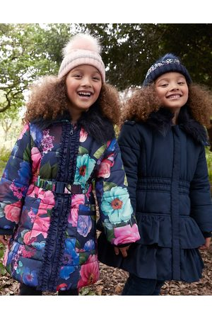 Monsoon Girls , and Floral Rose Print Padded Coat, Size: 7-8 Years
