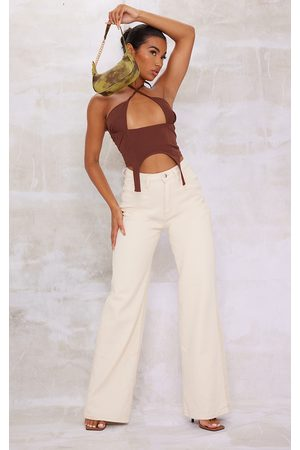 PRETTYLITTLETHING Stone Two Tone 90S Wide Leg Baggy Jeans