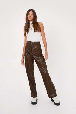 NASTY GAL Womens Pintuck High Waisted Wide Leg Faux Leather trousers