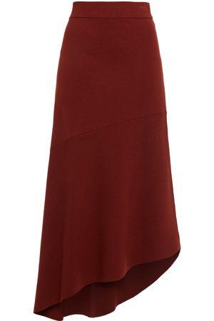 A.L.C. Women Midi Skirts - Woman Asymmetric Ribbed-knit Midi Skirt Claret Size L