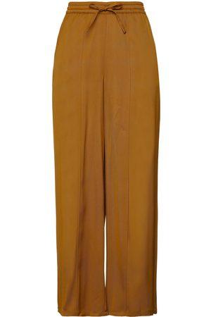 American Vintage Women Wide Leg Trousers - Woman Stretch-twill Wide-leg Pants Mustard Size L