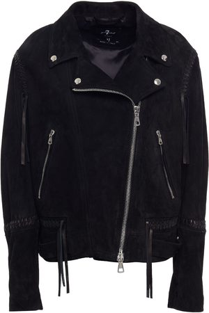 7 for all Mankind Women Leather Jackets - Woman Suede Biker Jacket Size L
