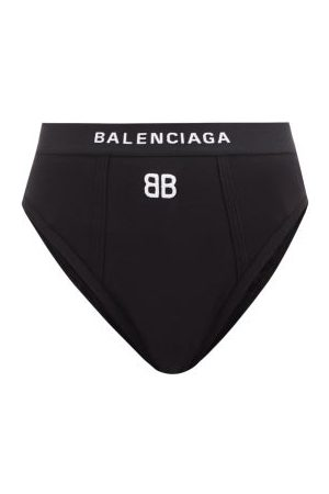 Balenciaga Women Briefs - Logo-embroidered High-rise Cotton-blend Briefs - Womens